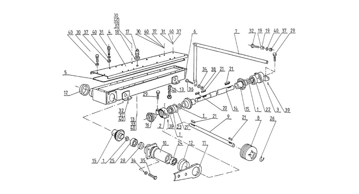 Abbildung K1. Hauptrahmen Körper und Schneide Einheiten Laufwerk