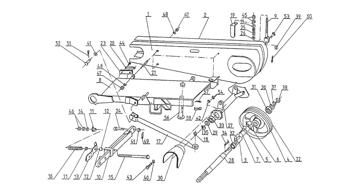 Rysunek K3. układ napędu i belka środkowa