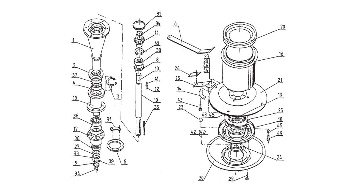 figure K2. Cutting unit and bearing arrangements